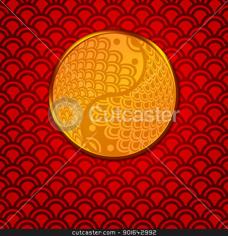 Chinese Pair of Fish in Yin Yang Circle on Red Background stock photo, Chinese Pair of Fish in Yin Yang Eternity Circle Illustration on Red Pattern Background by Jit Lim