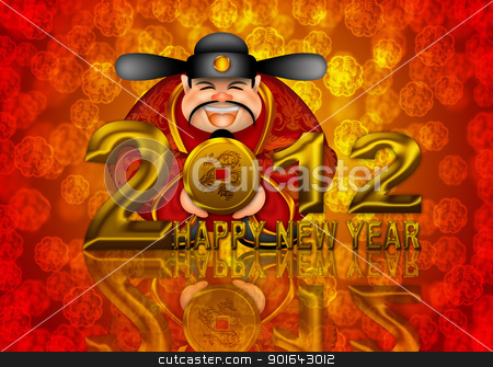 2012 Happy New Year Chinese Money God Illustration stock photo, 2012 Happy New Year Chinese Money Prosperity God Holding Round Gold Dragon Coin Illustration by Jit Lim