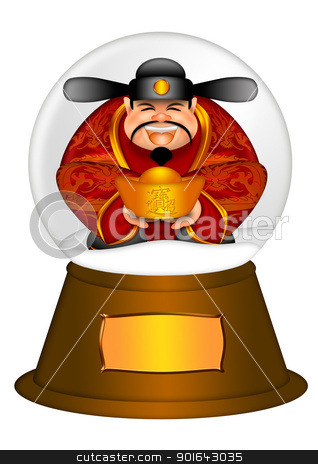 Chinese Money God in Water Snow Globe stock photo, Chinese Money Prosperity God in Water Snow Globe Illustration Isolated on White with Text Bringing in Wealth and Treasure on Gold Bar  by Jit Lim