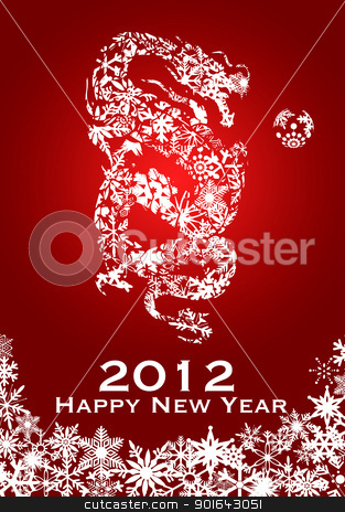2012 Chinese Year of the Dragon Snowflakes Red Background stock photo, 2012 Chinese Year of the Dragon with Snowflakes on Red Background Illustration by Jit Lim