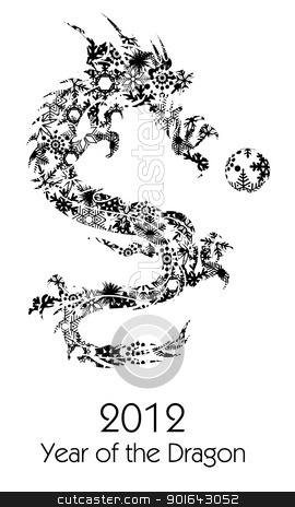 2012 Flying Chinese Snowflakes Pattern Dragon Clipart stock photo, 2012 Flying Chinese Snowflakes Pattern Year of the Dragon with Ball on White Background Illustration by Jit Lim