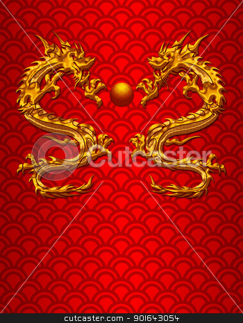 Pair of Chinese Dragons on Scale Pattern Background stock photo, Pair of Chinese New Year Metallic Dragons on Scales Pattern Red Background by Jit Lim