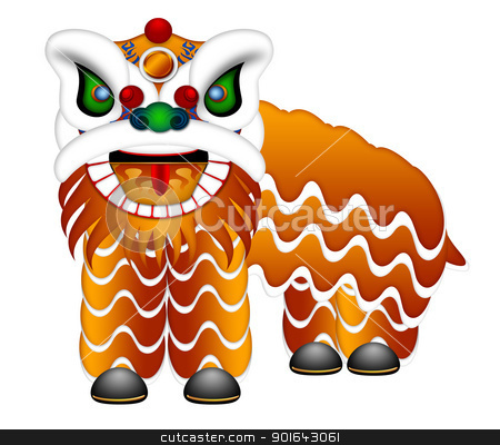 Chinese Lion Dance Full Body Illustration stock photo, Chinese Lion Dance Colorful Ornate Head and Body Illustration Isolated on White Background by Jit Lim