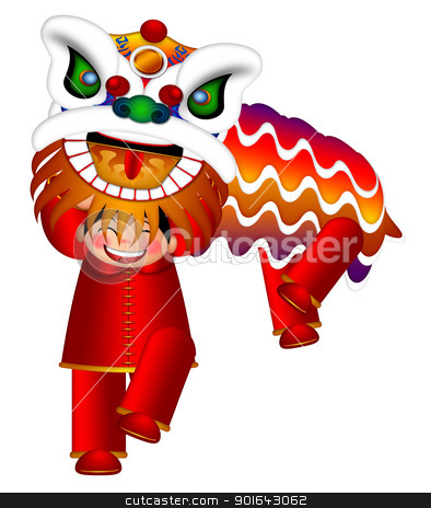 Chinese Lion Dance by Chinese Boys Illustration stock photo, Chinese Lion Dance Colorful Ornate Head and Body by Chinese Boys Illustration Isolated on White Background by Jit Lim