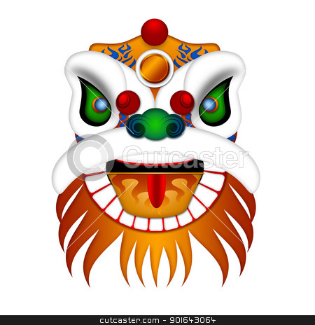 Chinese Lion Dance Head Illustration stock photo, Chinese Lion Dance Colorful Ornate Head Illustration Isolated on White Background by Jit Lim