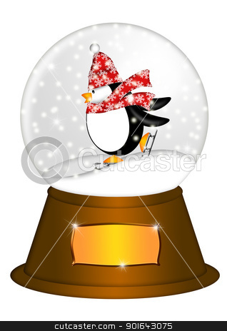 Water Snow Globe with Penguin Ice Skating Illustration stock photo, Christmas Water Snow Globe Penguin Ice Skating  and Blank Title Plaque Illustration Isolated on White Background by Jit Lim