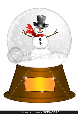 Water Snow Globe with Snowman Illustration stock photo, Christmas Water Snow Globe Snowman and Blank Title Plaque Illustration Isolated on White Background by Jit Lim