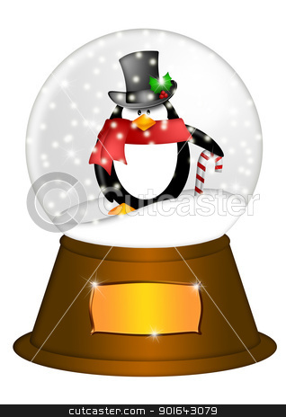 Water Snow Globe with Penguin and Candy Cane Illustration stock photo, Christmas Water Snow Globe Penguin with Candy Cane and Blank Title Plaque Illustration Isolated on White Background by Jit Lim