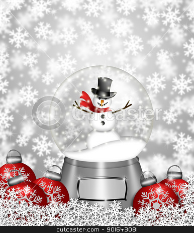 Snow Globe Snowman and Christmas Tree Ornaments stock photo, Water Snow Globes with Snowman Snowflakes and Christmas Tree Ornaments Illustration by Jit Lim