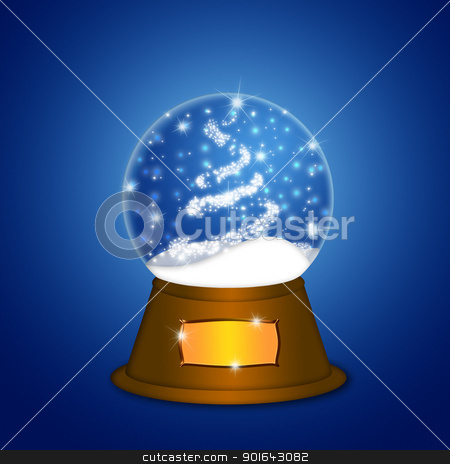 Water Snow Globe with Christmas Tree Sparkles stock photo, Christmas Water Snow Globe with Christmas Tree Sparkles and Snowflakes Illustration on Blue Background by Jit Lim