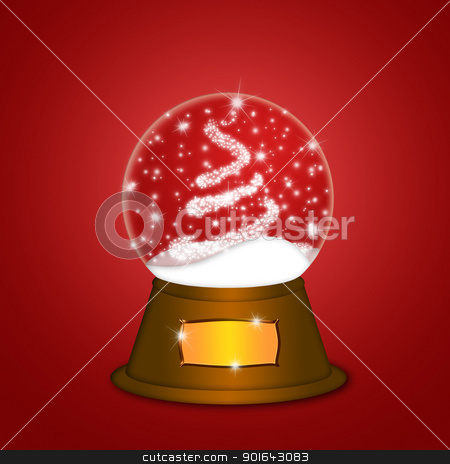 Water Snow Globe with Christmas Tree Sparkles Red stock photo, Christmas Water Snow Globe with Christmas Tree Sparkles and Snowflakes Illustration on Red Background by Jit Lim