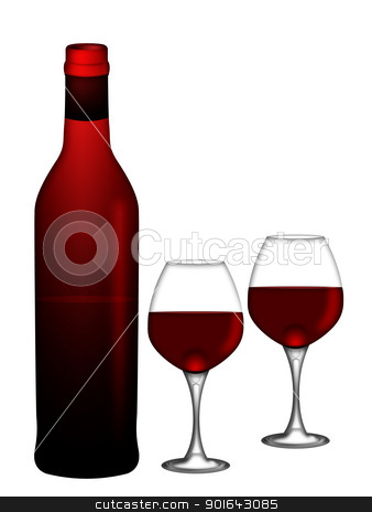 Red Wine Bottle and Two Glasses on White Background Illustration stock photo, Bottle of Red Wine with Two Wine Glasses Isolated on White Background Illustration by Jit Lim