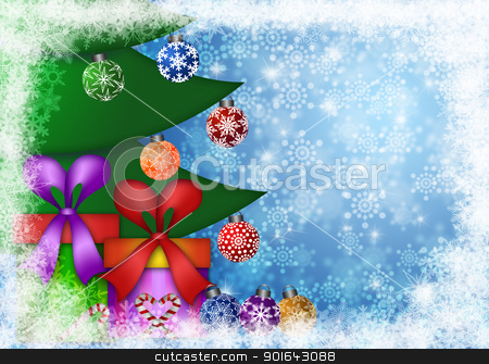 Christmas Presents Under the Tree with Snowflakes stock photo, Christmas Presents Under the Trees on Snowflakes Border and Blurred Background Illustration by Jit Lim