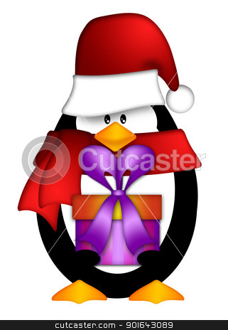 Penguin with Santa Hat with Present Clipart stock photo, Cute Cartoon Penguin with Santa Hat and Red Scarf Holding Wrapped Present Illustration Isolated on White Background by Jit Lim