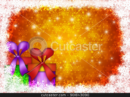 Christmas Presents with Snowflakes Border Illustration stock photo, Christmas Presents with Bows and Ribbons on Snowflakes Border and Blurred Background Illustration by Jit Lim