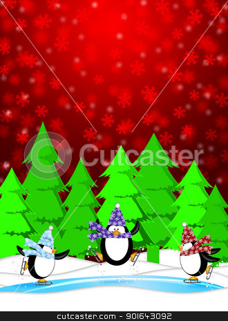 Penguins in Ice Skating Rink Winter Snowing Scene Illustration stock photo, Three Penguins Skating in Ice Rink Snowing Winter Scene Illustration Red Background by Jit Lim