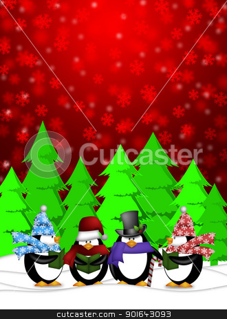 Penguins Carolers Singing with Red Winter Scene Illustration stock photo, Penguins Carolers Singing Christmas Songs with Snowing Winter Scene Illustration on Red Background by Jit Lim