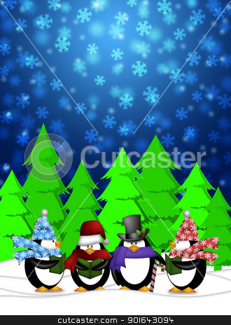 Penguins Carolers Singing with Winter Snowing Scene Illustration stock photo, Penguins Carolers Singing Christmas Songs with Snowing Winter Scene Illustration by Jit Lim