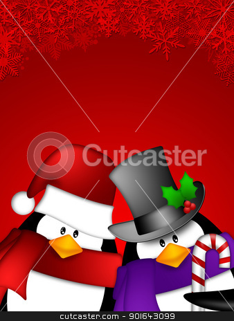 Penguin Couple on Red Snowflakes Background stock photo, Cute Cartoon Penguin Couple on Red Snowflakes Background Illustration by Jit Lim