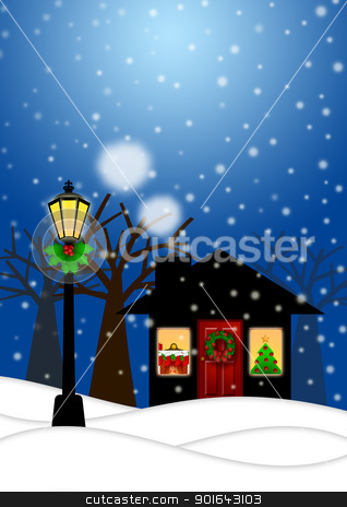 House and Lamp Post in Winter Christmas Scene Illustration stock photo, House and Lamp Post with Christmas Decoration in Snowing Winter Scene Landscape Illustration by Jit Lim