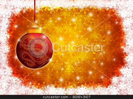Hanging Year of the Dragon Christmas Ornament Illustration stock photo, Hanging Year of the Chinese Dragon and Text Christmas Tree Ornament with Snowflakes Border Illustration by Jit Lim