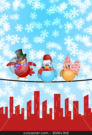 Three Birds on a Wire with City Skyline Christmas Scene stock photo, Three Birds on a Wire with Cityscape and Snowflakes Falling Christmas Scene Illustration by Jit Lim