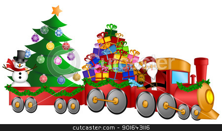 Santa Reindeer Snowman in Train with Gifts and Christmas Tree stock photo, Santa Claus and Reindeer Delivering Gifts in Red Train with Snowman and Christmas Tree Illustration by Jit Lim