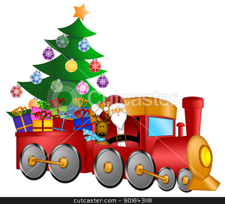 Santa in Train with Gifts and Christmas Tree stock photo, Santa Claus and Reindeer Delivering Gifts in Red Train with Christmas Tree Illustration by Jit Lim