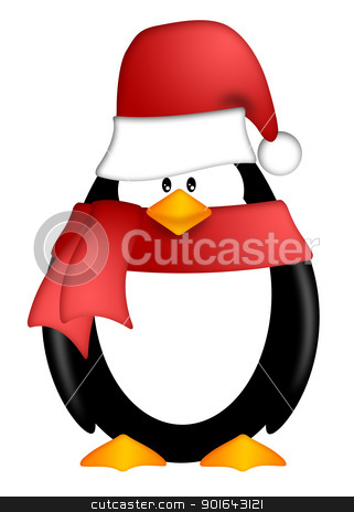 Penguin with Santa Hat and Red Scarf Clipart stock photo, Cute Cartoon Penguin with Santa Hat and Red Scarf Illustration Isolated on White Background by Jit Lim