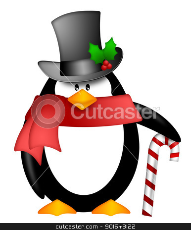 Penguin with Top Hat Red Scarf and Candy Cane Clipart stock photo, Cute Cartoon Penguin with Top Hat Red Scarf and Candy Cane Illustration Isolated on White Background by Jit Lim