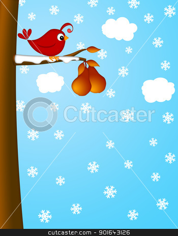 Christmas Partridge on a Pear Tree Winter Scene stock photo, Christmas Partridge on a Pear Tree Winter Scene Illustration by Jit Lim