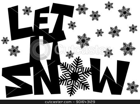 Let It Snow Freehand Drawn Text with Snowflakes stock photo, Let It Snow Freehand Drawn Text with Snowflake Clipart Isolated on White Illustration by Jit Lim