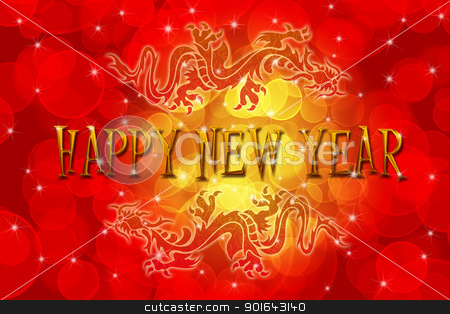 Double Chinese Dragon with Happy New Year Wishes stock photo, Double Chinese Archaic Dragons with Chinese New Year Greeting Text Illustration by Jit Lim