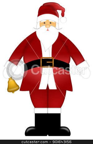 Santa Claus Ringing Bell Clipart Isolated on White Background stock photo, Santa Claus Ringing Bell Colored Clipart Isolated on White Background Illustration by Jit Lim