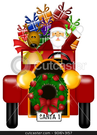 Santa and Reindeer Riding in Vintage Car Isolated stock photo, Santa Claus and Reindeer in Winter Snow Scene Driving in Vintage Red Car Isolated on White Background Illustration by Jit Lim