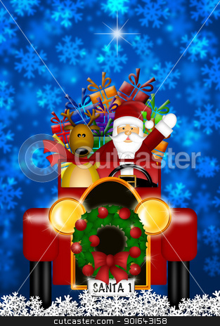 Santa and Reindeer Riding in Vintage Red Car stock photo, Santa Claus and Reindeer in Winter Snow Scene Driving in Vintage Red Car Illustration by Jit Lim