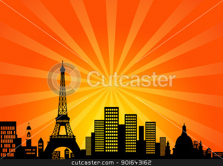 Paris France Downtown City Skyline stock photo, Paris France Downtown City Skyline Illustration by Jit Lim