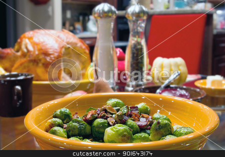 Brussels Sprouts with Bacon and Pistachios Turkey Dinner stock photo, Brussels Sprouts with Bacon and Pistachios Turkey Dinner Table Setting by Jit Lim