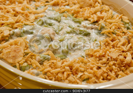 French Cut String Beans with Fried Onions Casserole Dish stock photo, French Cut String Beans with Fried Onions Casserole Holiday Dish by Jit Lim