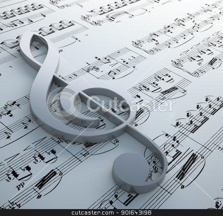 Clef symbol on a notation chart stock photo, Clef symbol on a notation chart (Claude Debussy - Danse) by Mopic