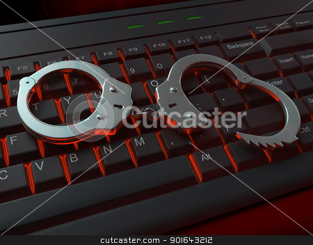 Handculfs on a red lit keyboard stock photo, Handculfs on a red lit keyboard Internet crime concept illustration  by Mopic
