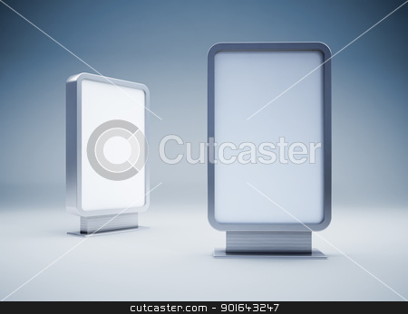 Two blank billboards stock photo, Two blank vertical billboards by Mopic
