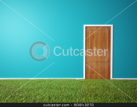room with wooden door and a grass covered floor stock photo, Interior scene - room with wooden door and a grass covered floor by Mopic