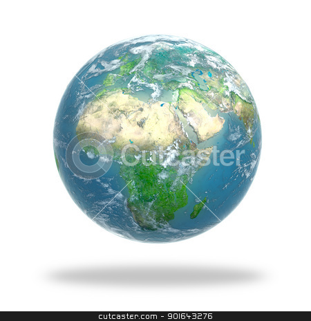 Earth globe covered with clouds stock photo, Earth globe covered with clouds - 3d rendering   by Mopic