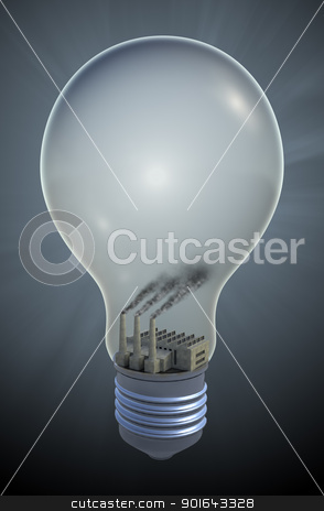 Light bulb with a Coal fired electricity plant stock photo, Light bulb with a Coal fired electricity - fossil fuel concept illustration by Mopic