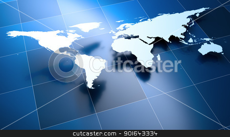 3D rendering of the World Map stock photo, 3D rendering of the World Map on a blue background  by Mopic