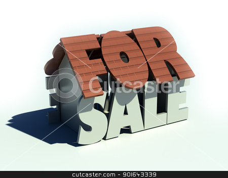 house for sale stock photo, house for sale - 3d real estate market concept illustration  by Mopic