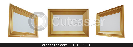 Three empty frames stock photo, Three empty frames isolated on a white background by Mopic