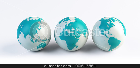 3 computer rendered globes  stock photo, 3 computer rendered globes  by Mopic
