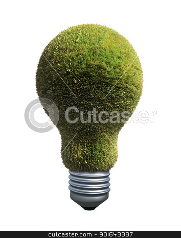 Green bulb - ecology and renewable energy symbol stock photo, Green bulb - ecology and renewable energy symbol  by Mopic
